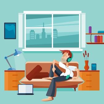 Interior plano con hombre en el sofá