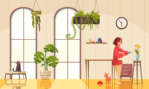 Interior con plantas caseras y mujer regando flores en florero ilustración plana