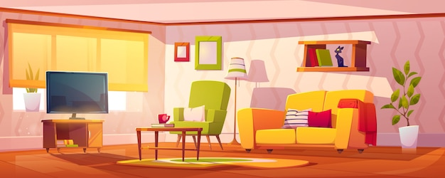 Interior de primavera de la sala de estar