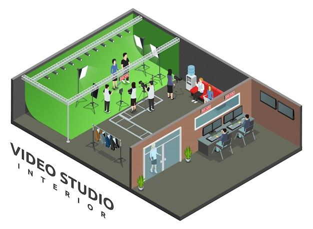 Interior profesional del estudio de grabación de video en vivo con signo de aire y operador de cámara, vista isométrica, ilustración vectorial