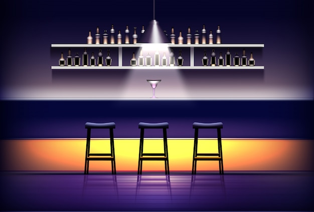 Interior de pub, bar o cafetería. barra de bar vacía con lámpara arriba, cóctel, taburetes, estantes con botellas de alcohol.