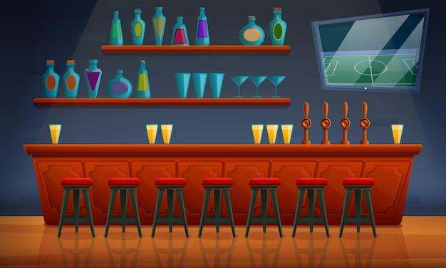 Interior de un pub con sillas y una variedad de alcohol, ilustración vectorial