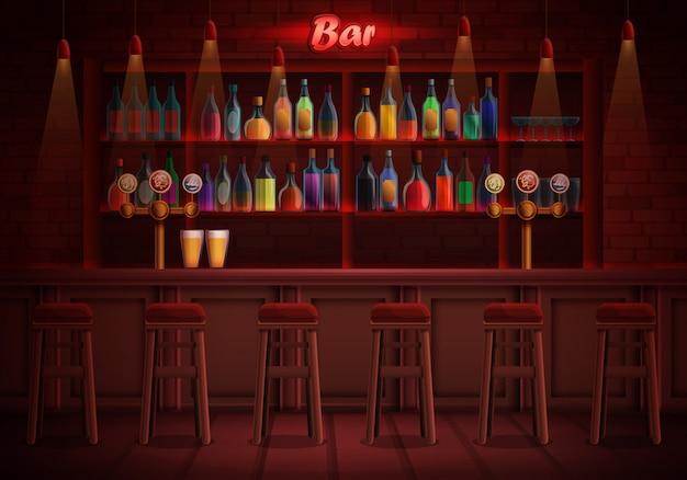 Interior de un pub con sillas y una variedad de alcohol, ilustración