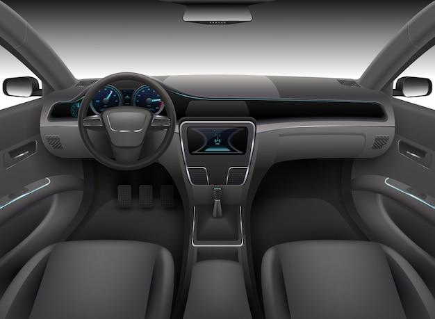 Interior realista del coche con timón, panel frontal del tablero de instrumentos y parabrisas automático ilustración vectorial