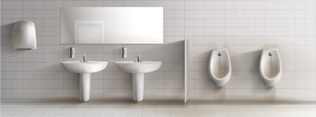 Interior realista del cuarto de baño público para hombre sucio 3d.