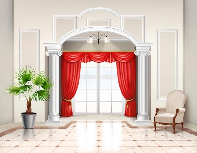 Interior realista en estilo clásico con columnas helenísticas, ventana francesa y cortinas rojas de lujo.
