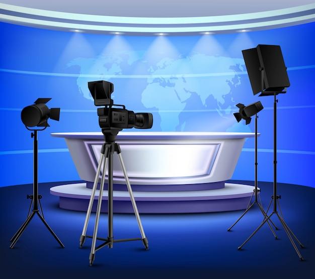 Interior realista del estudio de noticias azul