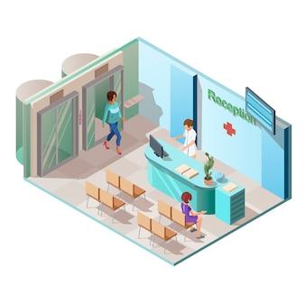 Interior de recepción de clínica médica con ascensor y pacientes