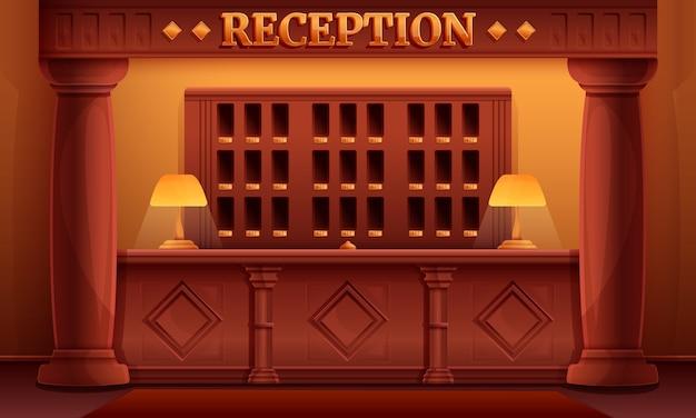 Interior de recepción de dibujos animados de un antiguo hotel vintage, ilustración vectorial