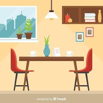 Interior de restaurante elegante con diseño plano