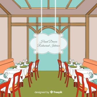 Interior de restaurante moderno dibujado a mano