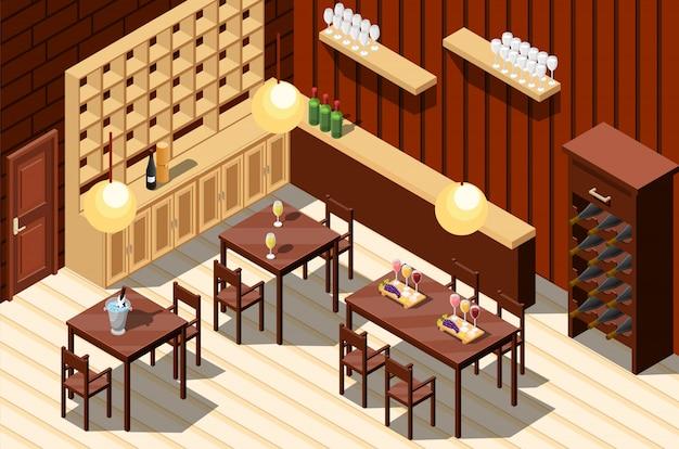 Interior del restaurante de vinos