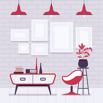Interior retro con lámparas rojas, marcos para copyspace