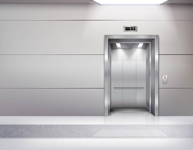 Interior de la sala de ascensor vacío realista