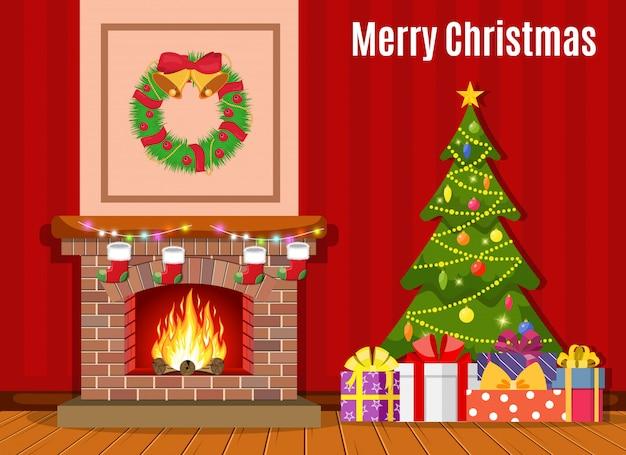 Interior de sala de chimenea de navidad