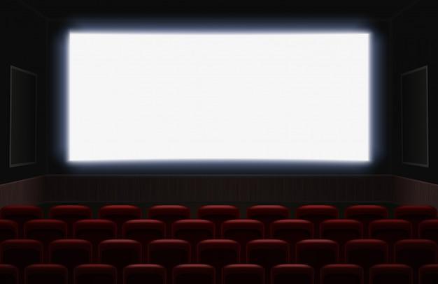 Interior de una sala de cine con pantalla en blanco blanco brillante. asientos rojos de cine o teatro frente a la pantalla. ilustración de fondo de auditorio de cine vacío