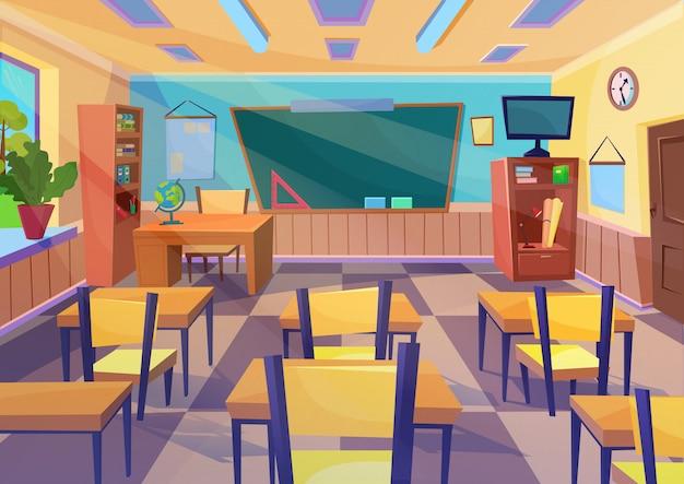 Interior de la sala de clase de la escuela vacía de dibujos animados con escritorio
