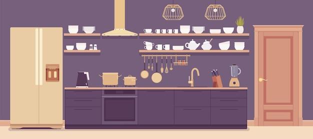Interior de la sala de cocina, gabinete de alta tecnología para el hogar, campana extractora, kit con muebles. diseño interior moderno, electrodomésticos en funcionamiento, decoración, inspiración para remodelaciones. ilustración de dibujos animados de estilo plano de vector