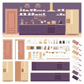 Interior de la sala de cocina, juego de creación de espacio para el hogar, gabinete de alta tecnología, campana de ventilación, kit con muebles, elemento constructor para construir su propio diseño. ilustración infográfica de estilo plano de dibujos animados, paleta de colores