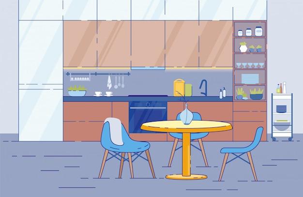 Interior de la sala de cocina con mesa redonda en estudio en estilo plano