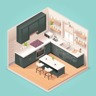Interior de sala de cocina moderna con muebles