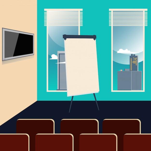 Interior de la sala de conferencias con sillas, televisor y tablero