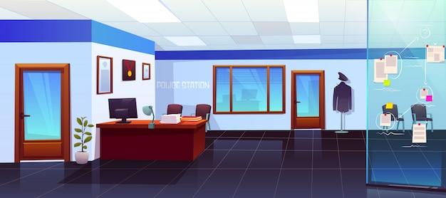 Interior de la sala de la estación de policía con panel de pruebas