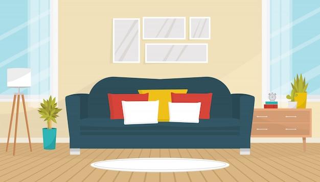 Interior de la sala de estar con acogedor sofá, cuadros en la pared, plantas de interior, lámpara de pie y cómoda. diseño de interiores. apartamento moderno con grandes ventanales. ilustración plana