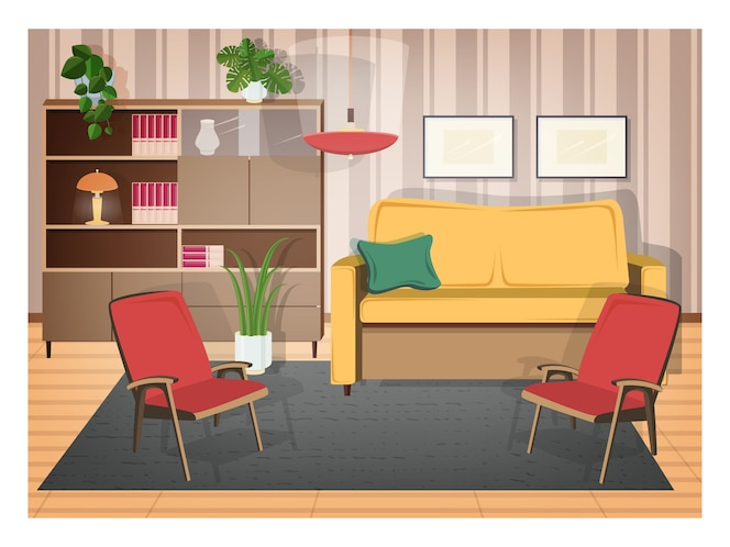Interior de la sala de estar amueblada con muebles retro y decoraciones para el hogar antiguas: cómodos sofás, sillones, estanterías, plantas de interior, lámparas, alfombras. Ilustración en estilo de dibujos animados plana.