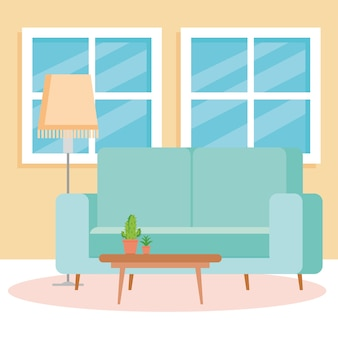 Interior de la sala de estar de la casa, con sofá, ventanas y decoración.