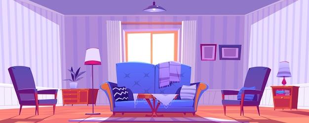 Interior de la sala de estar con decoración y muebles antiguos.