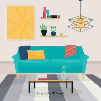 Interior de sala de estar elegante dibujada a mano