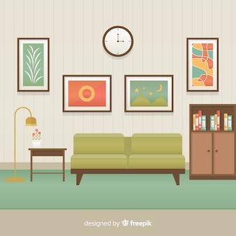 Interior de sala de estar elegante con diseño plano