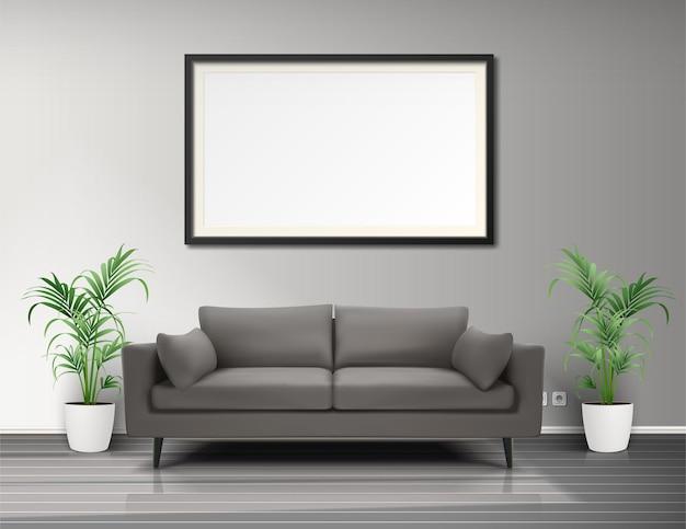 Interior de la sala de estar con macetas de sofá de marco de imagen