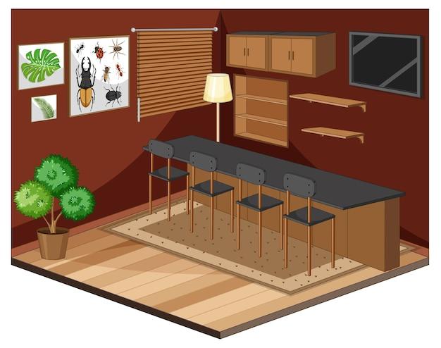 Interior de la sala de estar con muebles de estilo color marrón