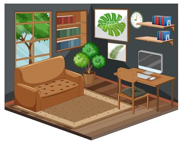 Interior de la sala de estar con muebles.