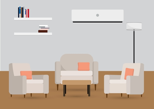 Interior de la sala de estar con muebles