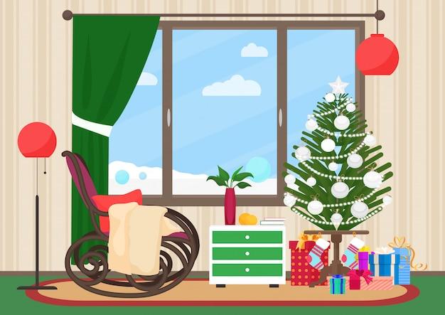 Interior de la sala de estar de navidad