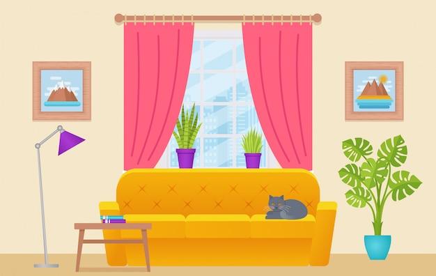 Interior de la sala de estar, salón con muebles, ventana, gato, fondo para el hogar, equipo de la casa de dibujos animados,