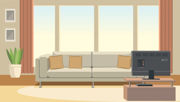 Interior de la sala de estar con sofá y tv plana vector