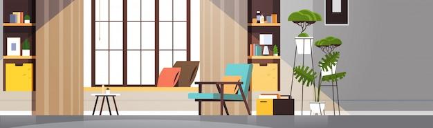 Interior de la sala de estar vacía moderna apartamento de nadie con muebles horizontales