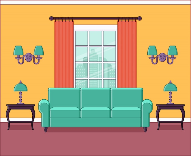 Interior de la sala de estar con ventana en la ilustración de diseño plano.
