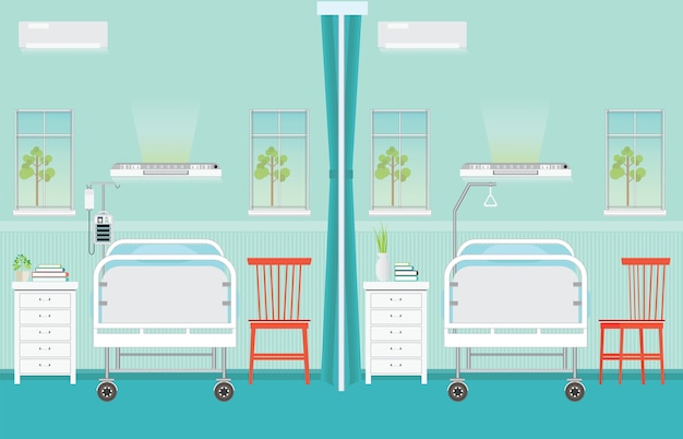 Interior de sala de hospital con camas