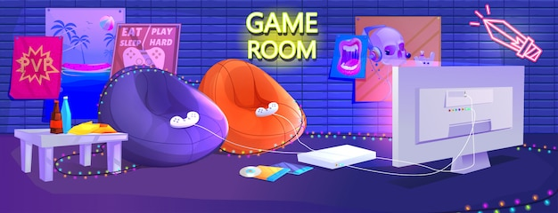 Interior de la sala de juegos para adolescentes.