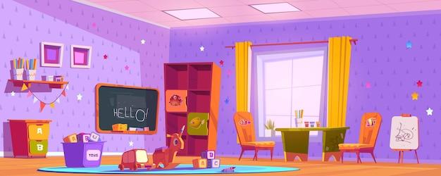 Interior de la sala de juegos para niños, parque infantil interior vacío