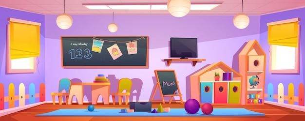 Interior de la sala de juegos para niños, sala de guardería vacía en el interior