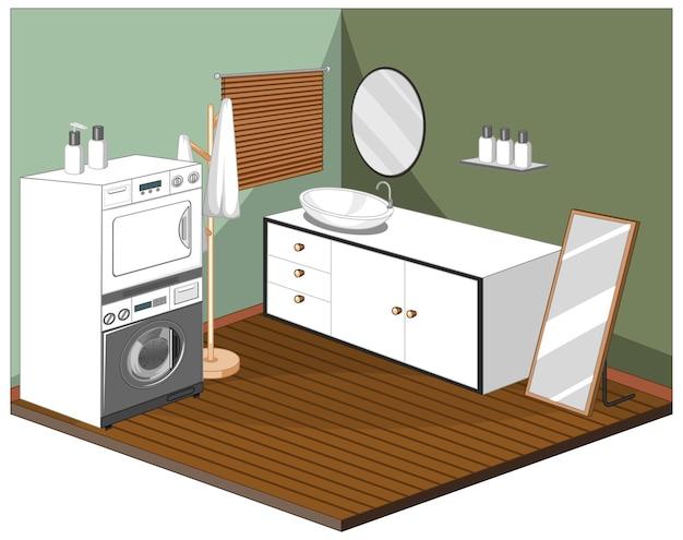 Interior de sala de lavandería con muebles