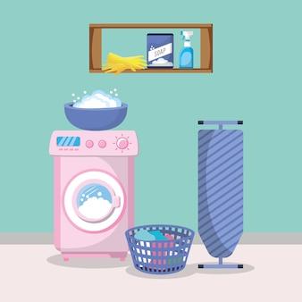 Interior de la sala de lavandería