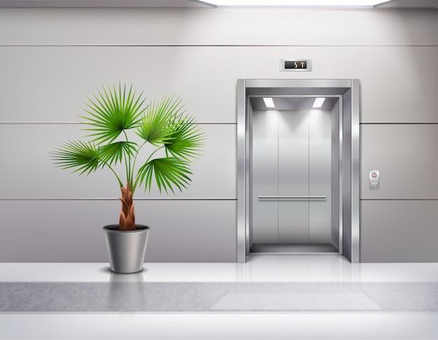 Interior de la sala moderna con palmera decorativa en abanico junto a puertas de ascensor abiertas realistas