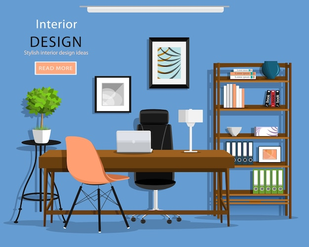 Interior de sala de oficina gráfica moderna: escritorio, sillas, estantería, computadora portátil, lámpara. ilustración.